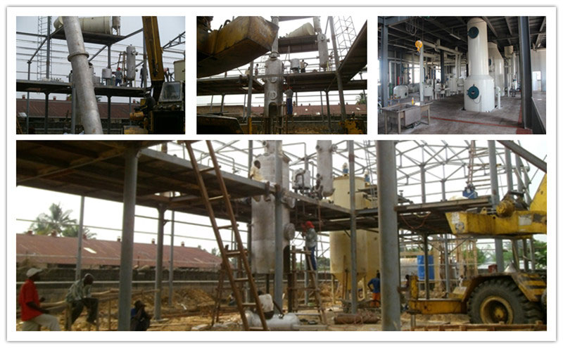 edible oil deodorizing tower and its installation for refinery in Congo